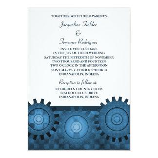 "Steampunk Gears Wedding Invite, Blue 5"" X 7"" Invitation Card"