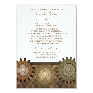 "Steampunk Gears Wedding Invite, Brown 5"" X 7"" Invitation Card"
