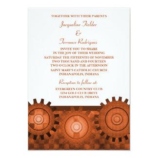 "Steampunk Gears Wedding Invite, Orange 5"" X 7"" Invitation Card"
