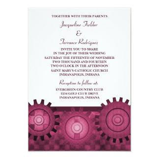 "Steampunk Gears Wedding Invite, Pink 5"" X 7"" Invitation Card"