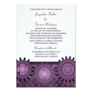 """Steampunk Gears Wedding Invite, Purple 5"""" X 7"""" Invitation Card"""