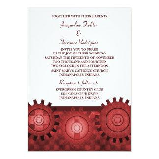 "Steampunk Gears Wedding Invite, Red 5"" X 7"" Invitation Card"