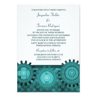 "Steampunk Gears Wedding Invite, Teal 5"" X 7"" Invitation Card"