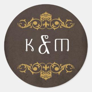 Steampunk Gears Wedding Monogram Round Sticker