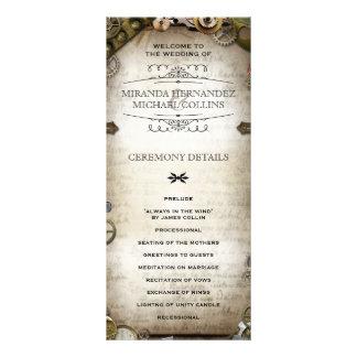 Steampunk Gears Wedding Programs Personlaized Custom Rack Card