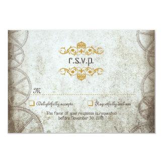 "Steampunk Gears Wedding RSVP 3.5"" X 5"" Invitation Card"