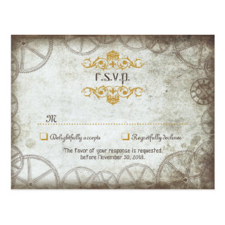 Steampunk Gears Wedding RSVP Postcard