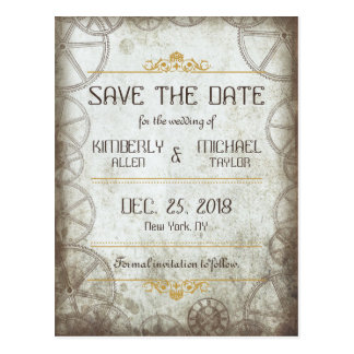 Steampunk Gears Wedding Save the Date Postcard