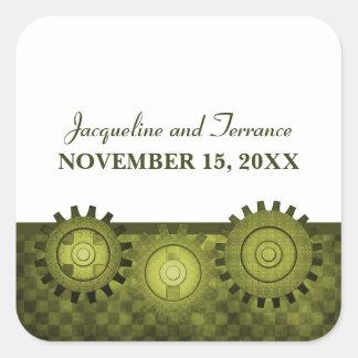 Steampunk Gears Wedding Stickers, Green Square Sticker