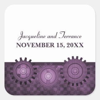 Steampunk Gears Wedding Stickers, Purple Square Sticker