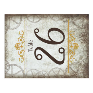 Steampunk Gears Wedding Table Number Postcard