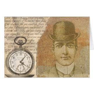 Steampunk Gentleman Pocket Watch Greeting Card