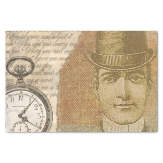 Steampunk Gentleman Pocket Watch Tissue Paper