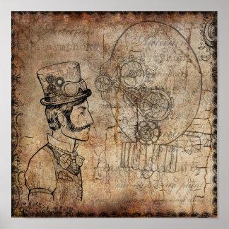 Steampunk Gentleman Retro Gears Poster