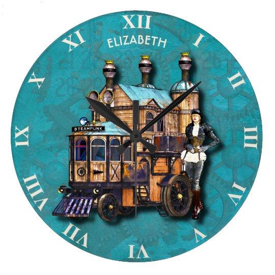 Steampunk Girl And Fantasy Locomotive Machine Clocks