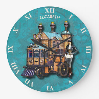 Steampunk Girl And Fantasy Locomotive Machine Large Clock