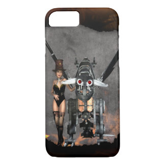 STEAMPUNK GIRL AND STEAM DRAGON BURN IT UP iPhone 7 CASE