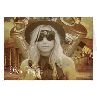 Steampunk Girl Bon Voyage Greeting Card