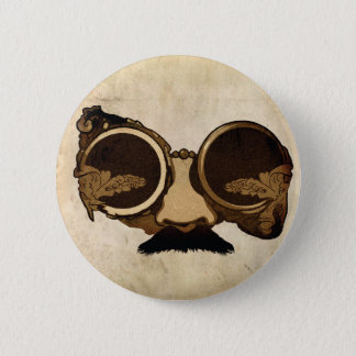 Steampunk Goggles and mustache 2 Inch Round Button