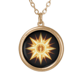 Steampunk gold compass rose necklace