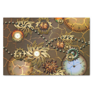 Steampunk golden design with clocks and giers tissue paper