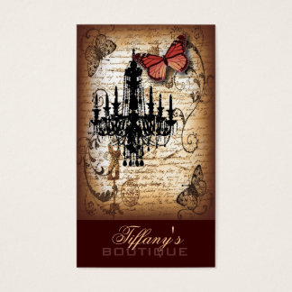 steampunk goth butterfly paris vintage chandelier business card