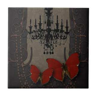 steampunk goth butterfly paris vintage chandelier tile
