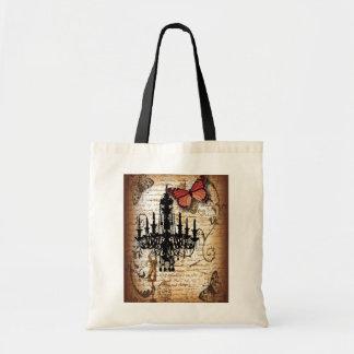 steampunk goth butterfly paris vintage chandelier tote bag