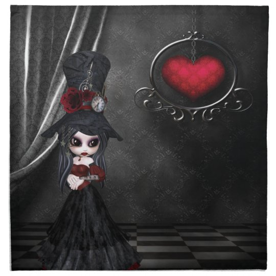 Steampunk Goth Girl & Heart Napkins