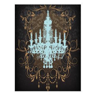 steampunk goth victorian vintage paris chandelier postcard