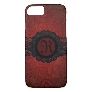 steampunk gothic victorian red black lace monogram iPhone 8/7 case
