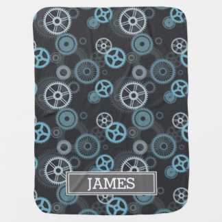 Steampunk Gray and Blue Gears Monogrammed Baby Blanket