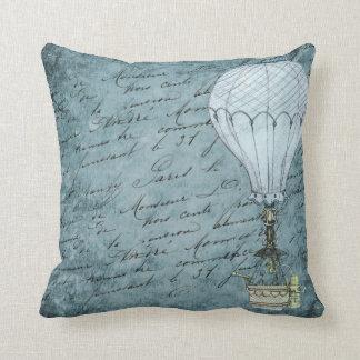 Steampunk Grunge Blue Hot Air Balloon Bird Cage Throw Pillow