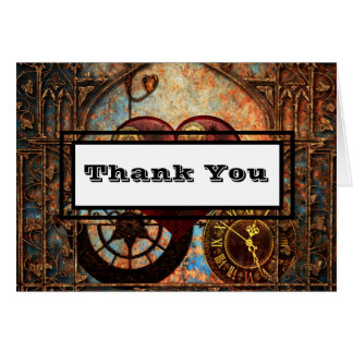 Steampunk Heart and Gear Thank You Note Card