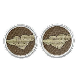 Steampunk Heart Wings Victorian Music Sheet Cufflinks