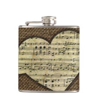 Steampunk Heart Wings Victorian Music Sheet Flasks