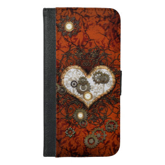 Steampunk, heart with gears and clocks iPhone 6/6s plus wallet case