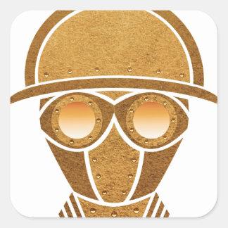 Steampunk Helmet & Mask Square Sticker
