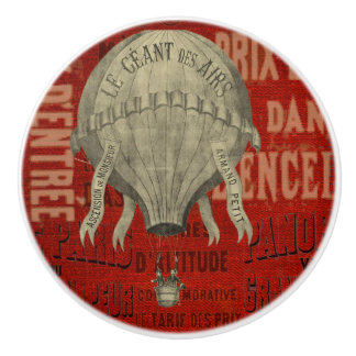 Steampunk Hot Air Ballon Ride Graphic Fonts Ceramic Knob