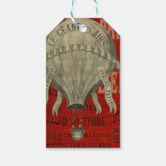Steampunk Hot Air Ballon Ride Graphic Fonts in Red Gift Tags
