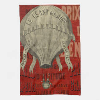 Steampunk Hot Air Ballon Ride Graphic Fonts in Red Kitchen Towel