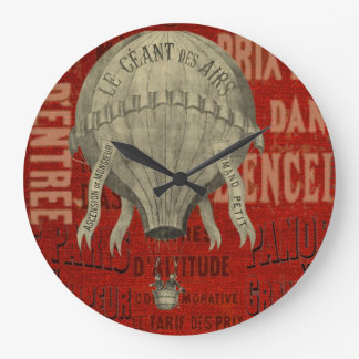 Steampunk Hot Air Ballon Ride Graphic Fonts in Red Large Clock