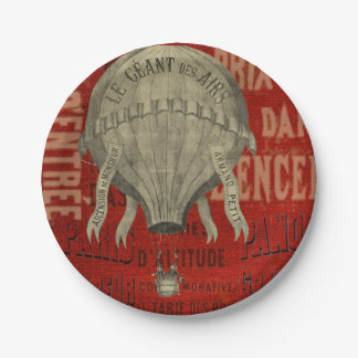 Steampunk Hot Air Ballon Ride Graphic Fonts in Red Paper Plate