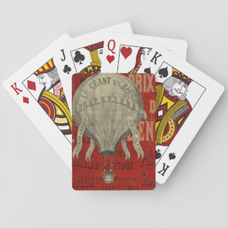Steampunk Hot Air Ballon Ride Graphic Fonts in Red Playing Cards