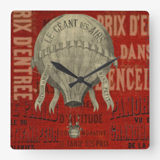 Steampunk Hot Air Ballon Ride Graphic Fonts in Red Square Wall Clock