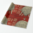 Steampunk Hot Air Ballon Ride Graphic Fonts Wrapping Paper