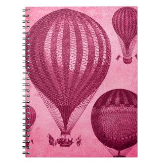 Steampunk Hot Air Balloon Antique Vintage Spiral Notebook