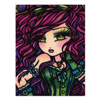 Steampunk Hot Air Balloon Girl Fantasy Art Postcard