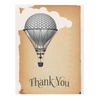 Steampunk Hot Air Balloon Thank You Postcard