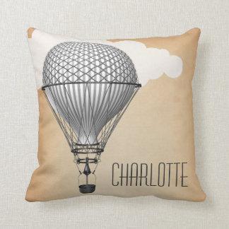 Steampunk Hot Air Balloon Throw Pillow